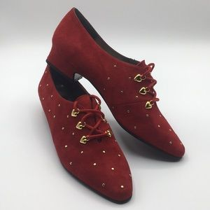 Margaret J Red Suede Lace Up Heels {made in spain}